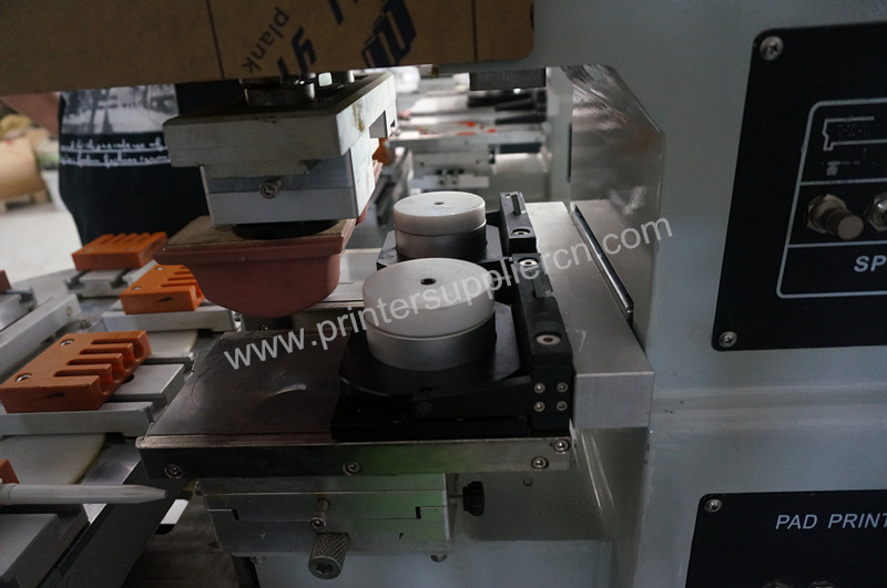 Sealed Cup Two color pad printer with conveyor