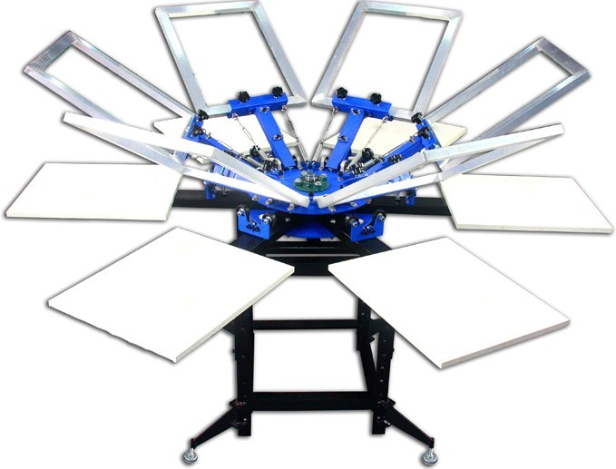 Manual  6 Colors 6 Stations Rotating Screen Printing Press